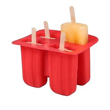 Umiwe - Juego de 4 moldes de silicona para hacer palos de hielo sin BPA, fácil de liberar, con tapas selladas, para niños: Amazon.es: Hogar