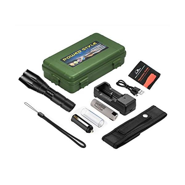 IKERLEX LED Linternas Tácticas Militares Recargables LED Antorcha Alta Potencia 1000 Lumen con 5 Modos Ajustable Portátil 1