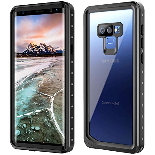 SNOWFOX Samsung Galaxy Note 9 Waterproof Case, Built-in Screen Protector Cover 360 Degree Protection Rugged Clear Bumper Underwater Waterproof Case Compatible with Samsung Galaxy Note 9 (Black) ()