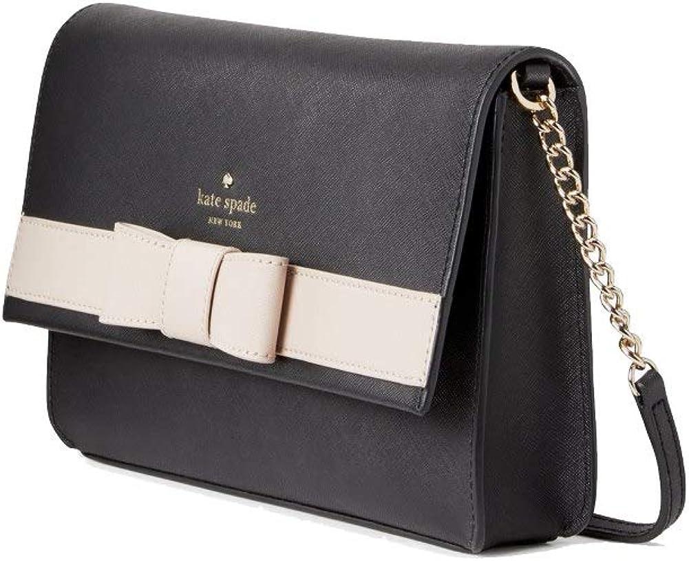 Kate Spade NY Kirk Park Saffiano Leather Veronique Crossbody Purse, Black/White/Multi, Small