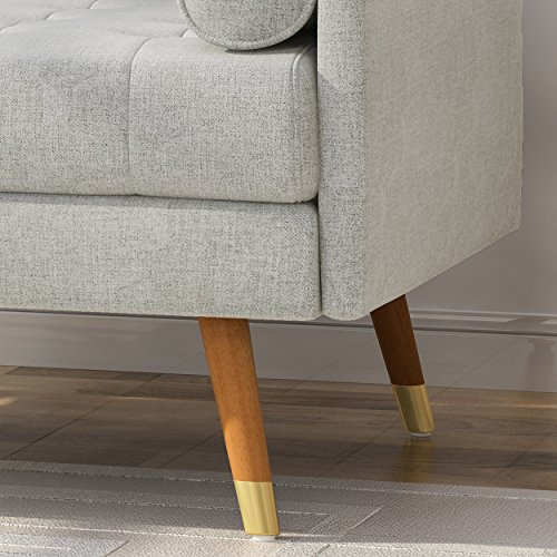 Christopher Knight Home 305844 Nour Fabric Mid-Century Modern Club Chair, Light Gray, Natural - 4