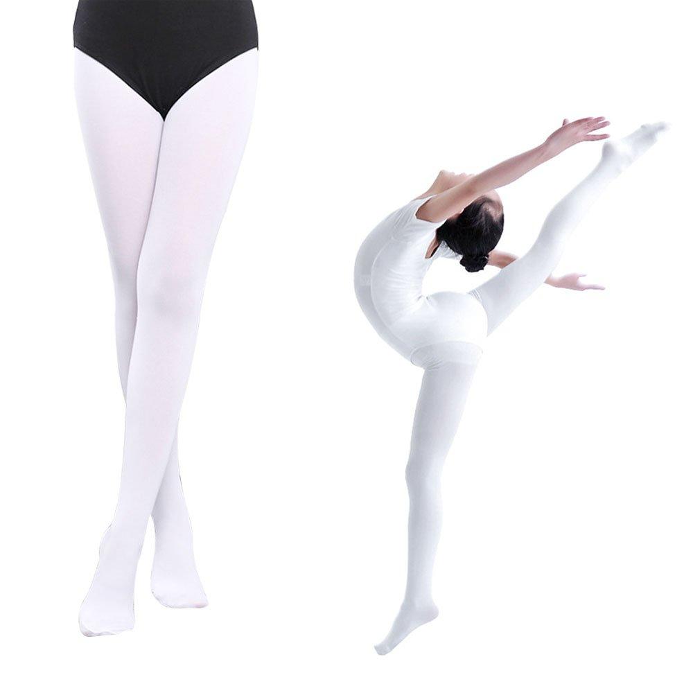 Sborter Collant Da Balletto, Collant Danza Classica Bianco, Calze da Danza per Ragazze, Rosa Calze Per Ballerine, 90 Den, S M L XL