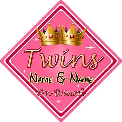 Personalizado Niño/bebé a bordo coche señal ~ Twins On Board ...