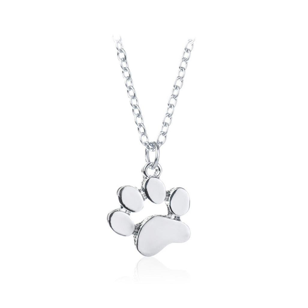Clearance ! Dog Footprint Necklace,Vanvler Men Women Animal Pendant Necklace Jewelry (Silver)