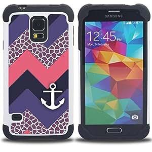 """Pulsar ( Chevron púrpura del velero"""" ) SAMSUNG Galaxy S5 V / i9600 / SM-G900 V SM-G900 híbrida Heavy Duty Impact pesado deber de protección a los choques caso Carcasa de parachoques [Ne"""
