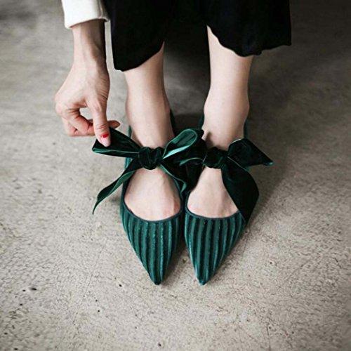 Solo Punta 34 Tamaño Estrecha Color Las Zapatos Negro de 39 Zapatos de de Pajarita 37 Cruzadas Mujeres la Tamaño Correas Planos Verde Verde qqgT8w7