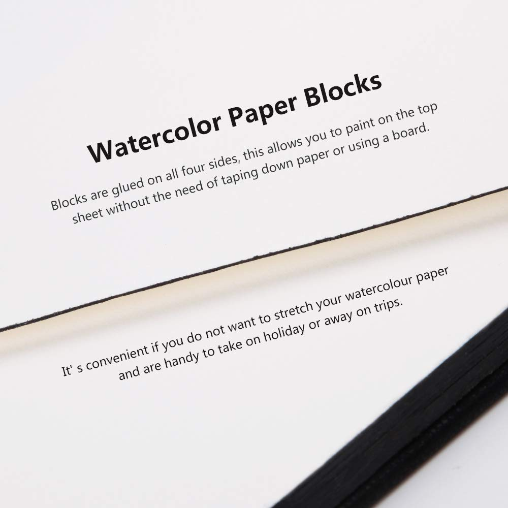 140lb Premium Leather Cover Artist Quality Hot Pressed Paper for Watercolors and Wet Media Block Acid Free /& 100/% Cotton Paul Rubens Watercolor Paper Block Black 7.68 x 5.31 inches 20 Sheets