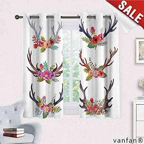 Big datastore Antlers Decor Curtain Mount,Deer Horns Bouquet Flowers Bloom Fun Springtime Garden Branches Complete Darkness Noise Reducing, W72 x L45