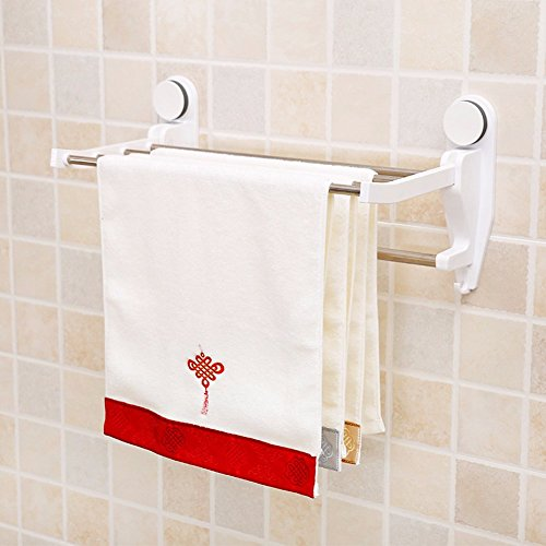 60%OFF KHSKX Super suction cup stainless steel folding Cup holder Towel rack bathroom shelf bathroom hardware accessories set