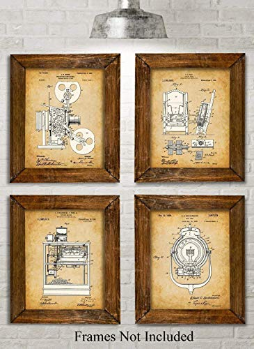 Original Home Theater Patent Art Prints - Set of Four Photos (8x10) Unframed - Makes a Great Gift Under $20 for House Warmings