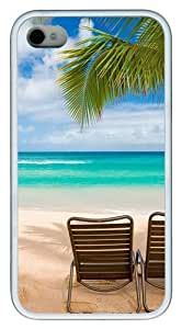 iPhone 4S Case Cover - Maui Beach Hawaii Palm Tree Custom Design TPU Case Cover for iPhone 4/4s White
