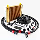 "#10: LR 10AN Oil Cooler Kit For BMW E36/E46 M3 135/335 Gold+ 7"" Fan (15 Row, Gold)"