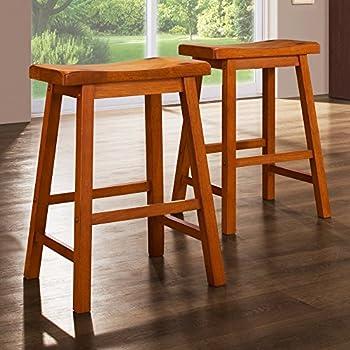 Amazon Com Weston Home 24 In Saddle Back Stool Oak