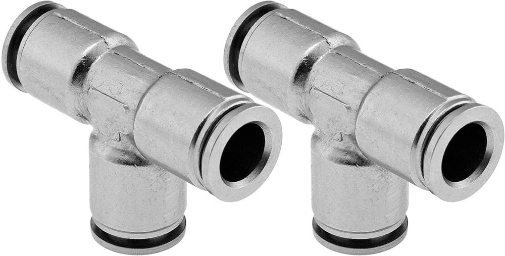 Union//Joint Tee//3-way Pneumatic Fitting for 3//8 OD Hoses PTC Vixen Air Push to Connect Bundle of Two Fittings VXA8338-2