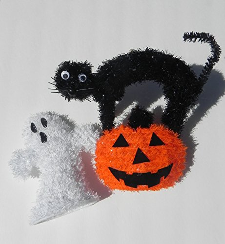 Halloween Party Decorations Props - Black Cat Ghost & Pumpkin Set by A&A Decor (Halloween Decorations Garage Door)