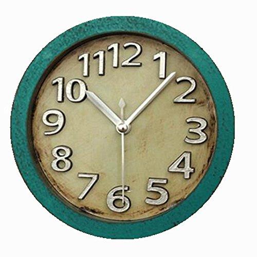 Usany 5 inch Vintage Wood Pattern Analog Table Clock Arabic numbers Silent Non-ticking Quartz Desk Clock Alarm Clock Round Desk Clocks 3D Clock (Green) by Usany (Image #5)
