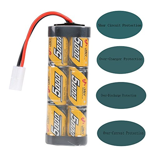 FUZADEL 5000mAh 7.2 Volt Nimh RC Battery Pack for Duratrax battery 7.2v,traxxas rc cars electric, Electric Rc Monster Trucks,Traxxas, LOSI, Associated, HPI, Tamiya, Kyosho With Tamiya Connectors