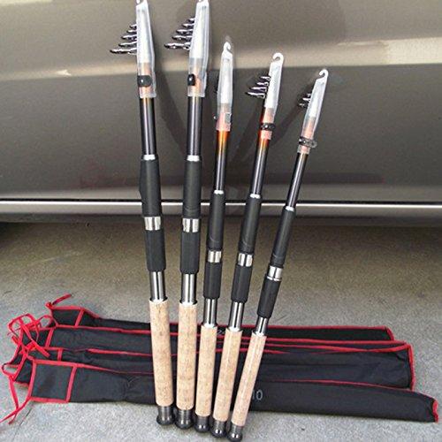 Meiyiu - Caña de Pescar telescópica de Fibra de Carbono para Barco, Agua Salada, Agua Dulce, Black, Lengh: 2.6m