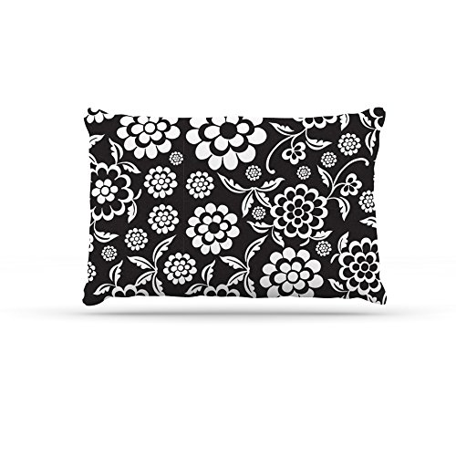 Cherry Floral Black Large 30  x 40 Kess InHouse Nicole Ketchum Cherry Floral Sea  Fleece Dog Bed, 30 by 40Inch