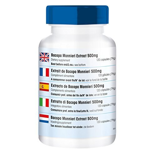 Extracto de Bacopa Monnieri 500mg - 20% de bacósidos - vegano - 120 cápsulas - fair&pure: Amazon.es: Salud y cuidado personal