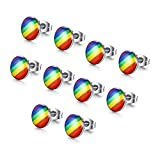 Pack of 5- MG Gay Pride Jewelry 3 Pair of Stainless Steel Rainbow Striped Round Dot Stud Earrings,LGBT Pride Earrings