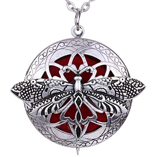 (Soul Statement Diffuser Necklace: Essential Oil Necklaces for Women Aromatherapy Locket (Dragonfly II))
