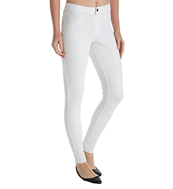 18fb5cc1ecb336 HUE Fashion Denim Selvage Edge Ripped Leggings (19286) XL/White at Amazon Women's  Jeans store