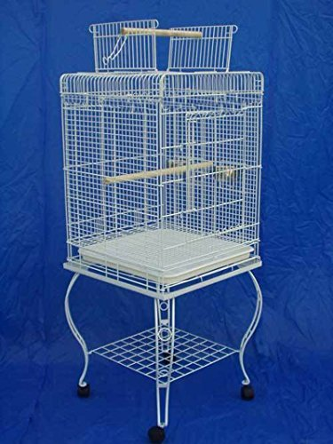 20-Inch Open Plays Top Parrot Lovebird Cockatiel Cockatiels Parakeets Cage with Stand, White Vein by Mcage by Mcage