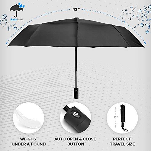 0d011ab4727c Rain-Mate Compact Travel Umbrella - Windproof, Reinforced Canopy, Ergonomic  Handle, Auto Open/Close Multiple Colors (Blue Sky)