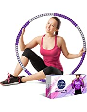 HiMont Weighted Hula Hoop for Adults, Detachable Fitness Hula Hoops for Exercise with Stainless Steel Core & Soft Foam, Portable & Weight Adjustable, Suitable for Weight Loss, Body Shaping
