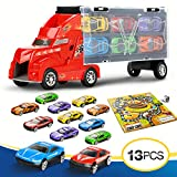 Lenbest Transport Carrier Truck Set with 12 Colorful Mini Mental Die Cast Cars & Innovative Racing Game Map - Car Transporter Toy for Kids