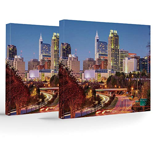 2 Piece Canvas Wall Art,United States,for Home Bathroom Living Room Bedroom,Raleigh North Carolina USA Express Way Business District Building Skyscrapers Decorative]()