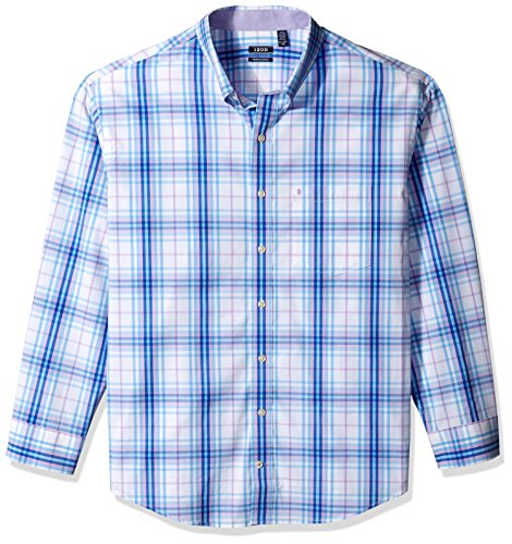 IZOD Men's Premium Performance Natural Stretch Plaid Long Sleeve Shirt (Big & Tall and Tall - And Big Tall Clearance
