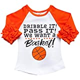 New So Sydney Toddler & Girl Fall & Winter Holiday Sparkle Ruffle Raglan T-Shirt (S (3T), Basketball)