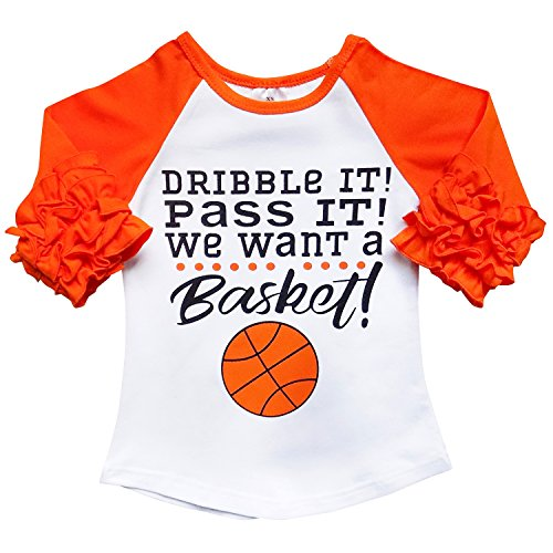So Sydney New Toddler & Girl Fall & Winter Holiday Sparkle Ruffle Raglan T-Shirt (XL (6), Basketball) for $<!--$9.97-->