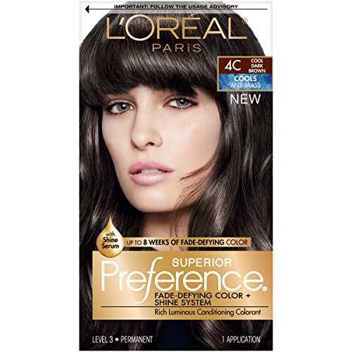 L'Oréal Paris Superior Preference Fade-Defying + Shine Permanent Hair Color, 4C Cool Dark Brown, 1 kit Hair Dye