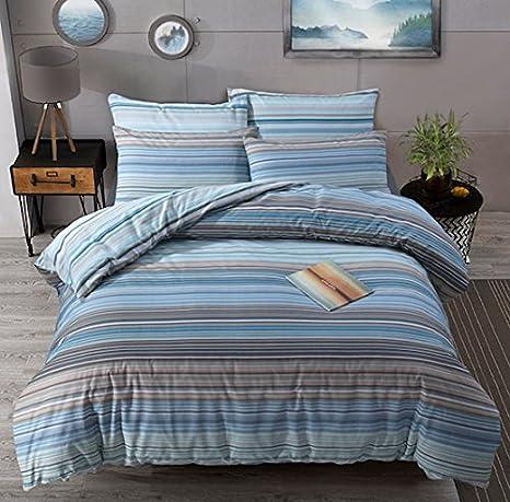 Blue Betley Fusion Double Classic Wide Stripe Duvet Cover Set