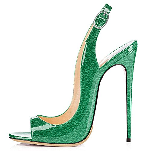 Modemoven Women's Patent Leather Pumps,Peep Toe Heels,Slingback Sandals,Evening Shoes,Cute Stilettos Green Litchi Pattern