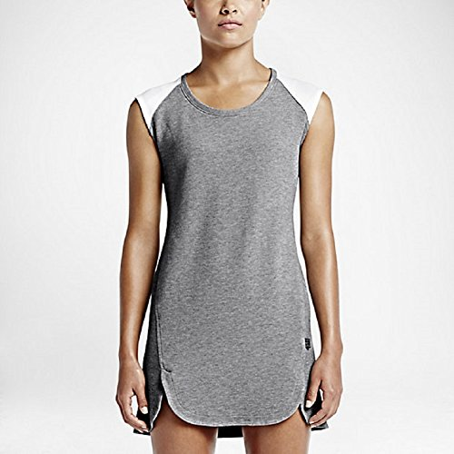 Nike Women's Court T-Shirt Dress Dark Grey Heather/White (Medium)