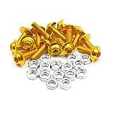 uxcell 15pcs M6 Gold Tone Aluminum Alloy Hex Socket Head Motorcycle Bolts Screws Nuts