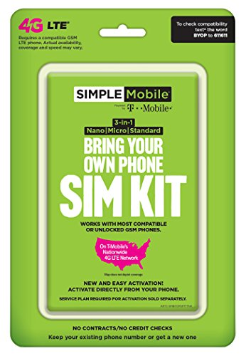 Simple Mobile, Powered by Tmobile, Universal Sim Kit