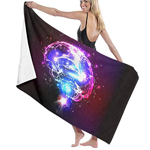 Xianjingshui 32 X 52 Inch High Absorbency Bath Towel Brain Colorful Purple Lightweight Large Bath Sheet for Beach Home Spa Pool Gym Travel
