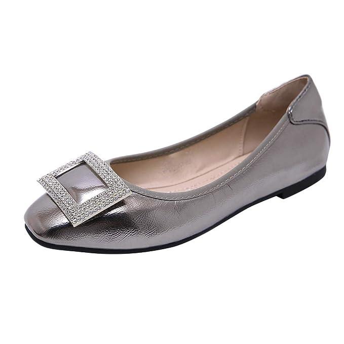 Bestow Zapatillas Individuales, Diamantes de imitación, Hebillas, cómodos, de Gran tamaño, de Fondo, Rollo de Huevo, para Mujeres, Boca Baja, ...