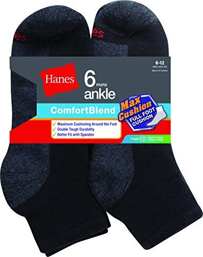 Hanes Men's ComfortBlend Max Cushion Ankle Socks, 6 Pack