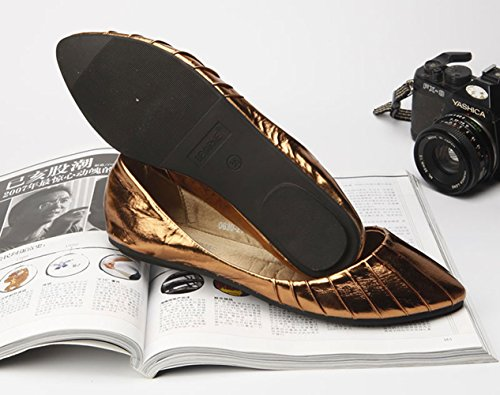 Plaid&Plain Womens Glitter PU Leather Pointed Toe Close Back Plain Slip On Ballet Flats Shoes 3# Brown fT8mn