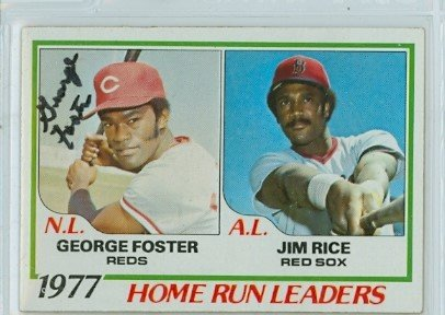 George Foster AUTOGRAPH 1978 Topps #202 Home Run leaders Cincinnati Reds Cincinnati Reds Autographed Baseball