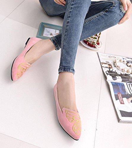 Schmetterling bestickte Schuhe Erbsen Schuhe zeigten einzelne weibliche Schuhe Handel Sandalen Damenschuhe Schaufel pink