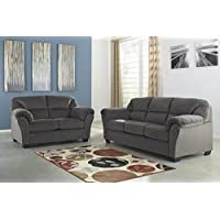 Kinlock Contemporary Charcoal Fabric Sofa and Loveseat Set with Nailhead Trim
