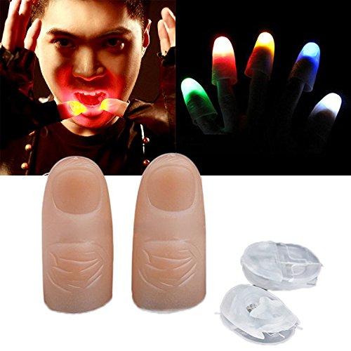 2PCS LED Finger Thumb Light Magic Trick Prop Party Bar Flashlight Magician Toys