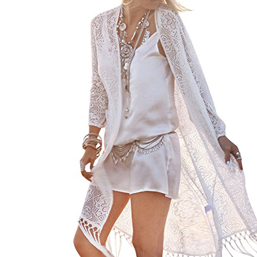 Queenmore Fashion Long Lace Swimwear Cover-ups White Cardigan Long Sleeve Tassel
